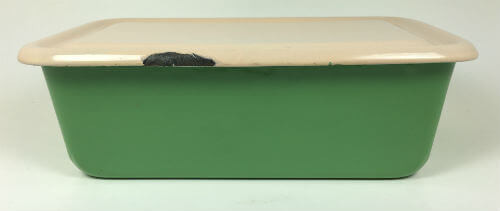 Vintage Enamelware Loaf Pan Refrigerator Box with Cover Green Cream Tan Cover Set of 2