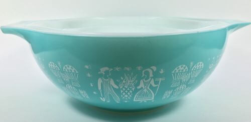 Pyrex Cinderella Bowls Turquoise and White Amish Butterprint 444 443 441