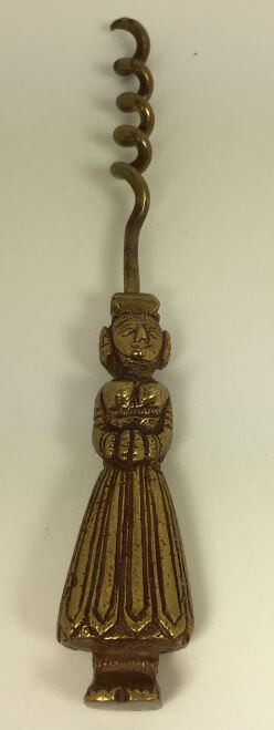 Vintage Brass Wine Corkscrew Women Figure Handle