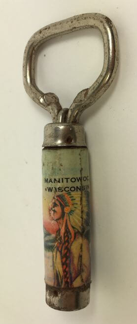 Vintage Bottle Opener Manitowoc Wisconsin Native American Indian