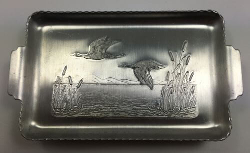 Vintage Tip Trays Ducks and Cattails Aluminum Set of 8 Top