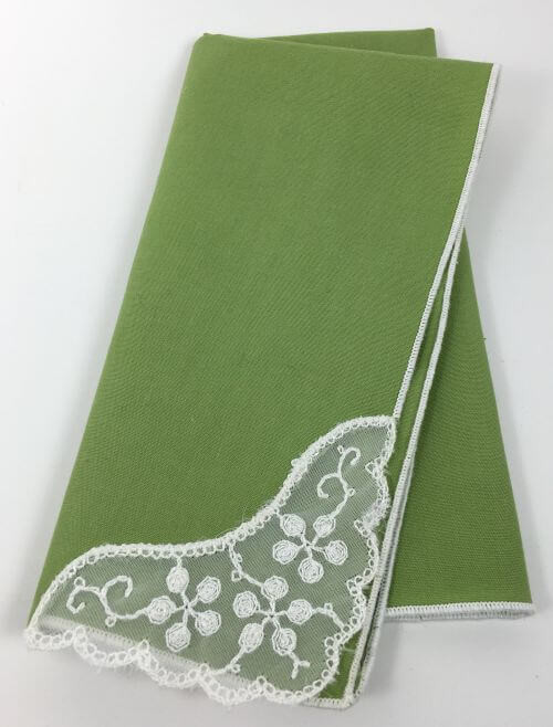 Vintage Napkins Lime Green White Lace Corner Set of 6