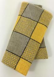 Vintage Napkins Yellow Gray Black Plaid Set of 6