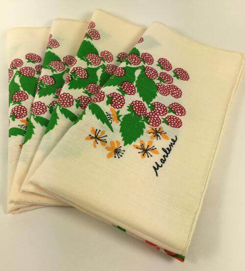 Vintage Napkins Cream 5 Types of Berries signed Marlene Set of 4