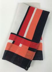Vintage Napkins Cream Red Black Coral Striped Sides Set of 8