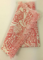Vintage Napkins Red Toile with Fringe Set of 4