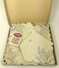 Linen Cocktail Napkins in Box Cream with Gray Embroidery set of 6