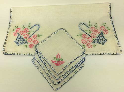 Towel Cloth Coasters Blue Pink and Green Basket Flowers