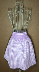 Vintage Half Apron Purple Gingham with Black Rickrack Trim