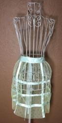 Vintage Half Apron Lime Green Netting with Satin Trim