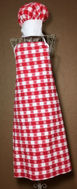 Vintage Full Apron Red Picnic Fabric with Chefs Hat