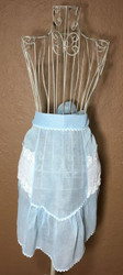 Vintage Half Apron Blue Sheer with White Lace Pockets
