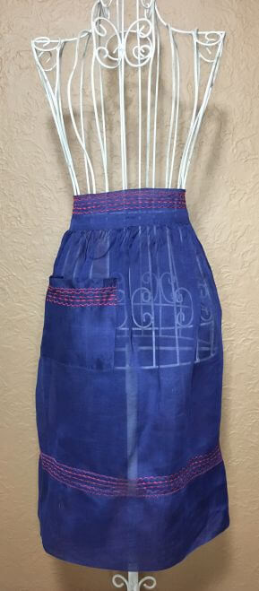 Vintage Half Apron Blue Sheer Red Trim