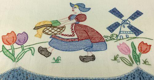 Vintage Kitchen Towel Dutch Girl Windmill Tulips detail