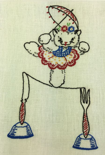 Vintage Kitchen Towel Cat on Tightrope Fork Knife Detail