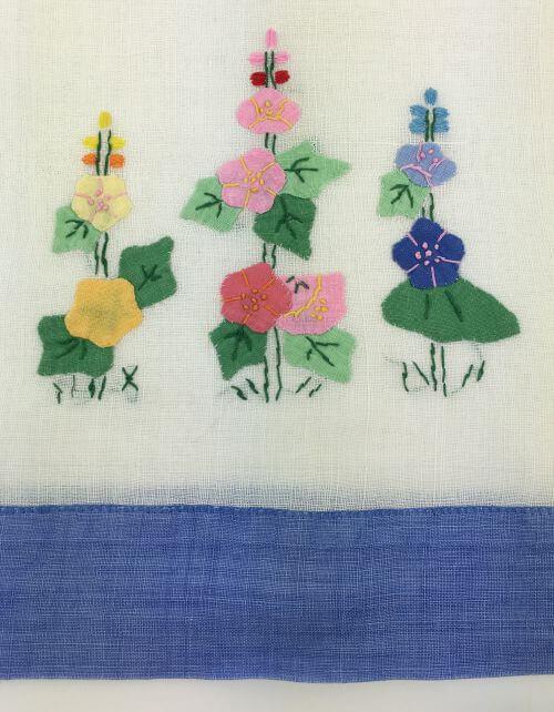 Vintage Kitchen Towel Hollyhocks with Blue Border Detail