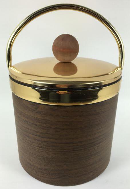 Vintage Ice Bucket Faux Wood Gold Brass