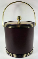 Vintage Ice Bucket Red Black Gold Brass
