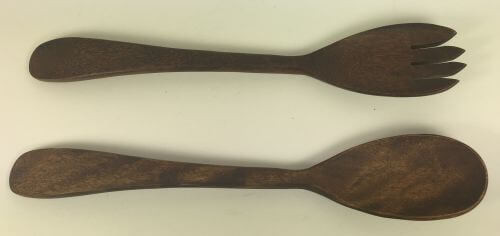 Vintage wood salad fork spoon serving set