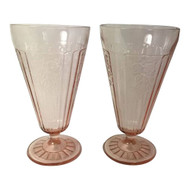 Vintage Hocking Mayfair Pink Depression Footed Tumblers