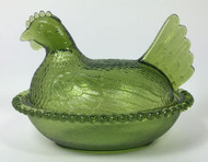 Vintage Olive Green Hen on Nest Indiana Glass
