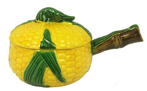 Vintage Majolica Corn Soup Crocks Tureen Bowls