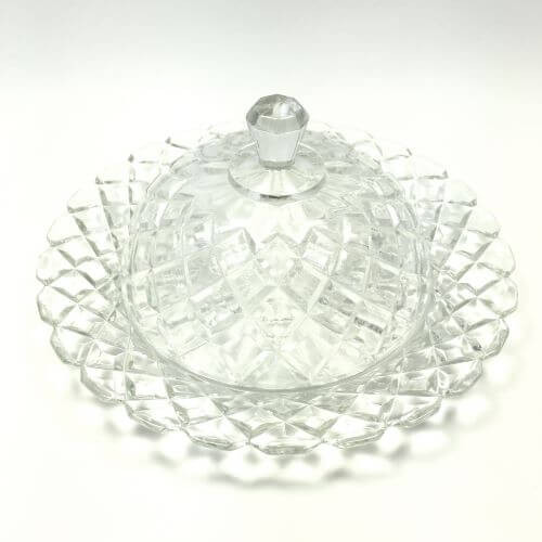 Vintage Depression Glass Waterford Clear Anchor Hocking Round Covered Round Butter Dish with Lid