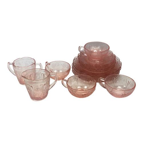 Vintage Pink Depression Glass Childrens Dinner Tea Set Cherry Blossom