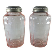 Vintage Pink Depression Glass Spice Shaker Jar Set with Metal Shaker Lids