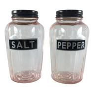 Vintage Pink Depression Glass Salt Pepper Storage Jar Set with Black Metal Lids