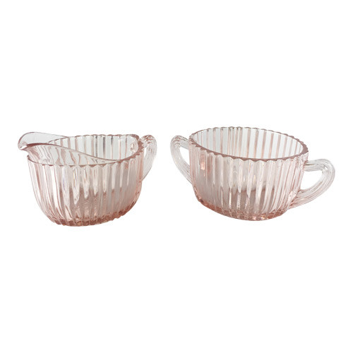 Vintage Pink Depression Glass Sugar & Creamer Set Queen Mary Pattern by Hocking