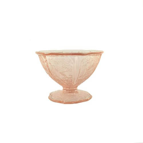 Vintage pink depression glass sherbet champagne coupe cherry blossoms pattern 1930s