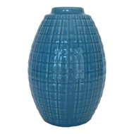 Blue Glazed Vase with Geometric Grid Lines Pattern