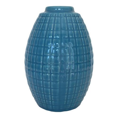 Blue Glazed Vase with Geometric Grid Lines Pattern