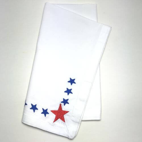 Cloth Dinner Napkins, Patriotic with Red and Blue Stars, Set of 2