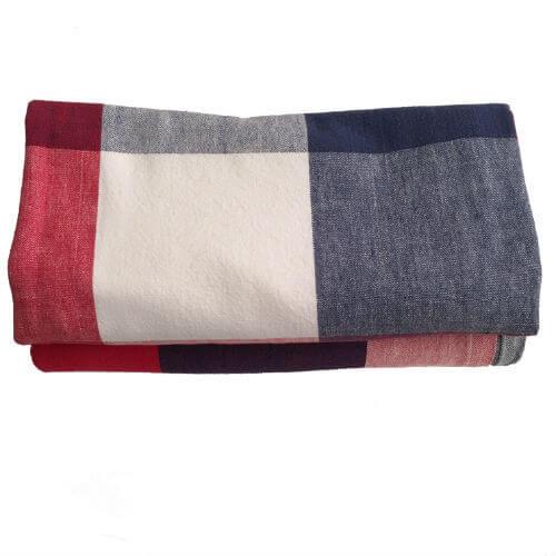 Vintage Tablecloths, Red White & Blue Large Plaid, Set of 2
