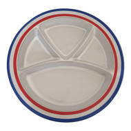 Vintage Stoneware Divided Grill Snack Plates Red White Blue