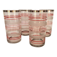 Vintage Red and Frosted Striped Glass Tumblers set of 4