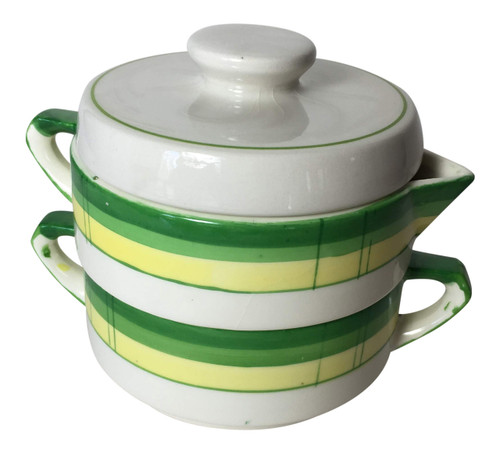 Vintage stacked sugar and creamer yellow and green