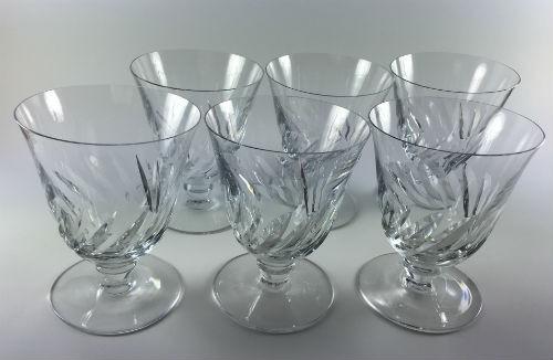 """Baccarat Marked Beauchene Short Stem Glass Crystal Goblet 4 3/8"""" tall Set of 6, vintage"""