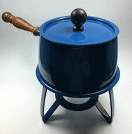 Vintage Blue Fondue Pot with wood handle cover lid and stand