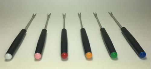 Vintage Fondue Forks Black Handle Colored tips ends set of 6