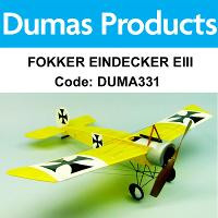 DUMAS 331 FOKKER EINDECKER EIII 30 INCH WINGSPAN RUBBER POWERED