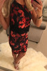 Jess Red Floral Bodycon