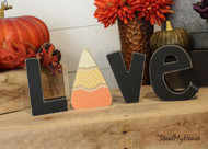 "Candy Corn - Unfinished ""O"" Letter - HOME & LOVE Series"