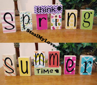 Think Spring - Summer Time: DIY Unfinished Wood, Vinyl & Paper Spring and Summer Letters Decoration Kit- Reversible Blocks Letters
