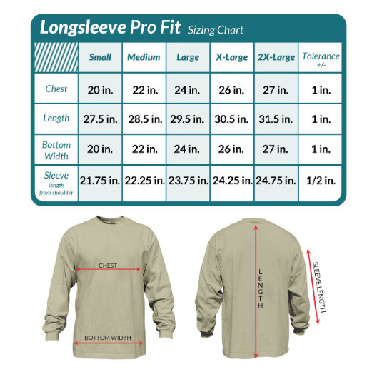 Pro Fit long sleeve size guide