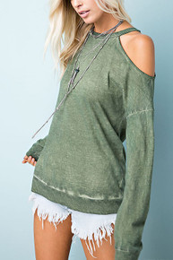 Olive Wash Cold Shoulder Top
