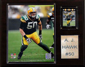 """NFL 12""""x15"""" A.J. Hawk Green Bay Packers Player Plaque"""