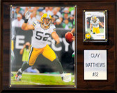 """NFL 12""""x15"""" Clay Matthews Green Bay Packers Player Plaque"""